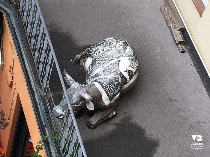 Vaca na varanda do Sorell Hotel Seidenhof