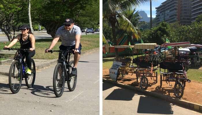 Bicicletas e triciclos na Lagoa Rodrigo de Freitas