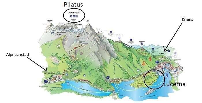 Mapa com o caminhos para o Pilatus