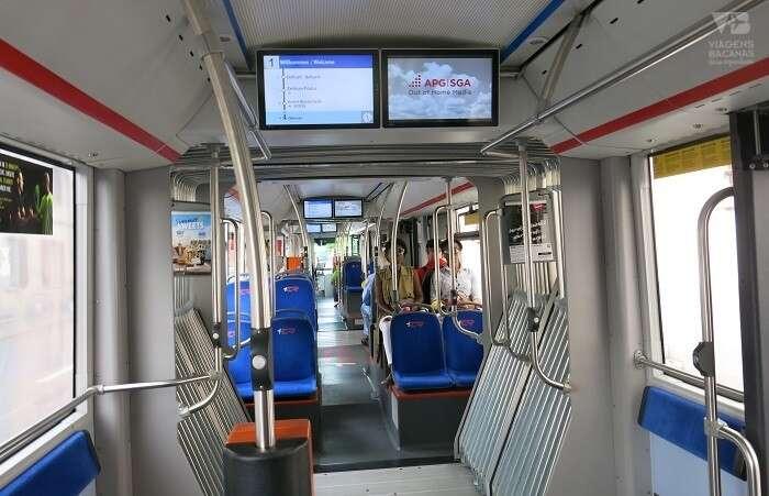 Painel no ônibus com as paradas