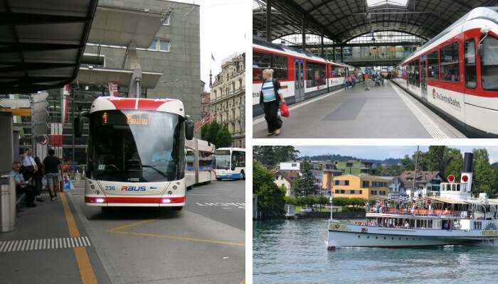 Ônibus trem e barco