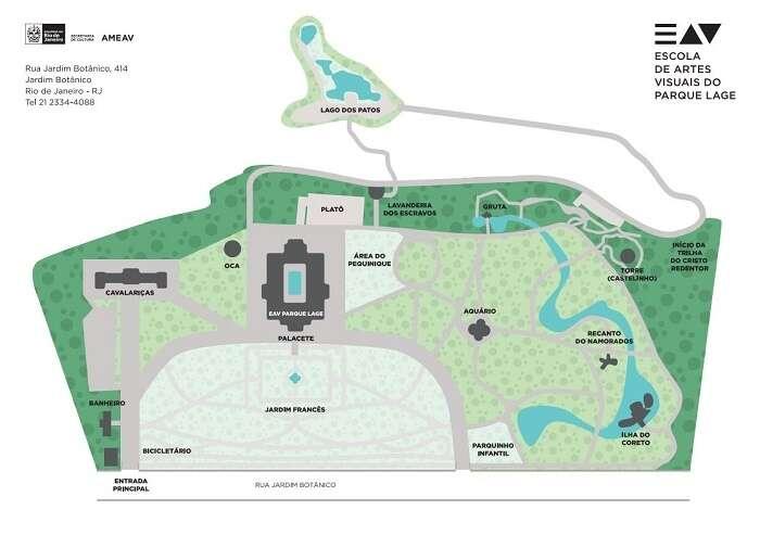 Mapa do Parque Lage - Viagens Bacanas