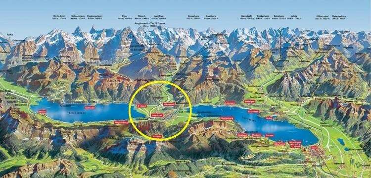Cidade de Interlaken entre dois lagos - Viagens Bacanas