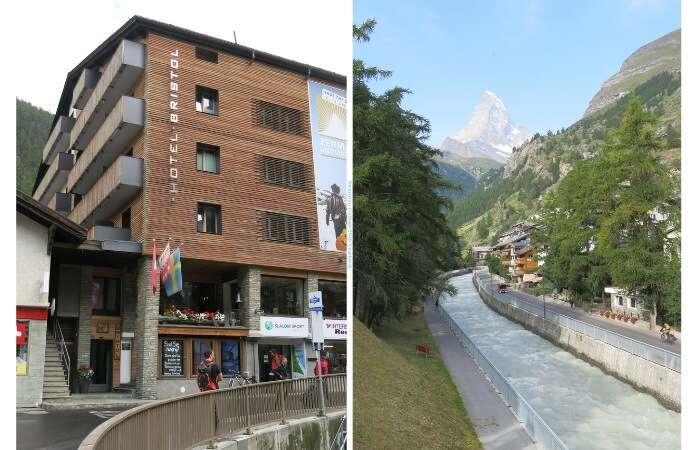 Hotel Bristol em Zermatt a lado do Rio Vispa - Viagens Bacanas
