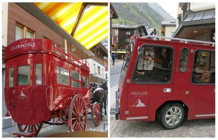 Charrete e carro elétrico do Hotel Seller em Zermatt - Viagens Bacanas