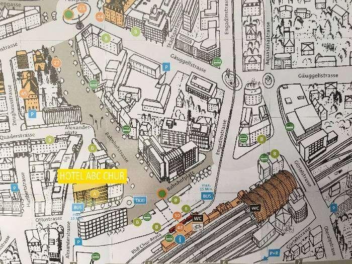 Mapa do Hotel ABC Chur - Viagens Bacanas