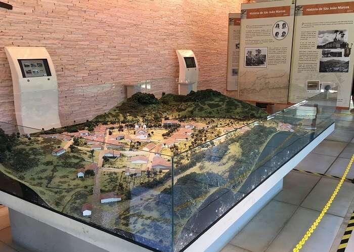 Maquete do Centro de Memória do Parque Arqueológico e Ambiental de São João Marcos