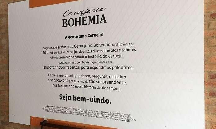 Placa bem vindo ao Complexo Cervejeiro da Bohemia