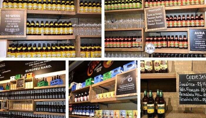 Diferentes tipos de cerveja na loja da Cervejaria