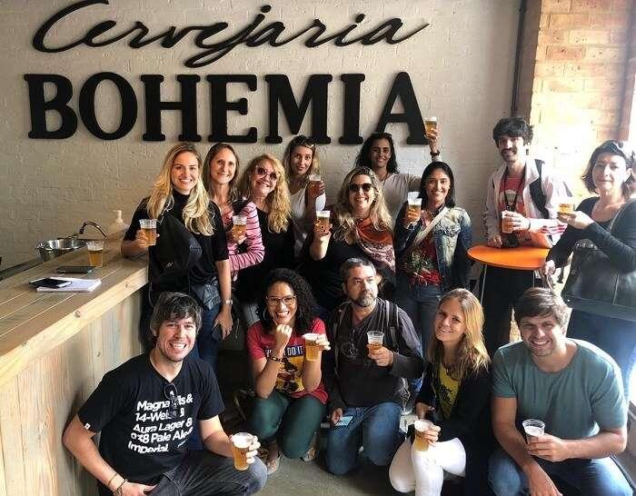 Blogueiros de viagem na Cervejaria Bohemia em Petrópolis