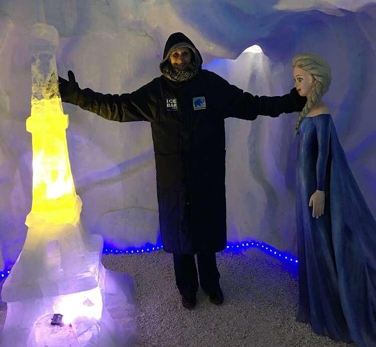 Esculturas de gelo no Ice Bar Mundo Gelado do Capitão