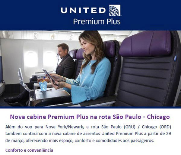 Premium Plus da United - Viagens Bacanas