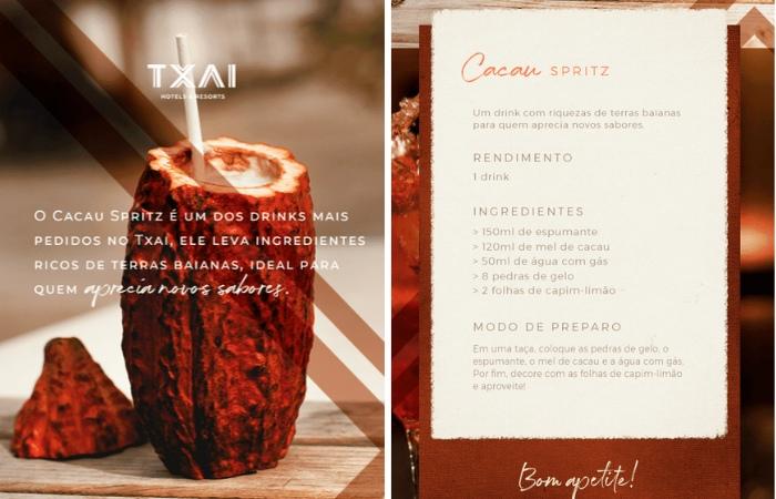 Receita Drink Cacau Spritz do Txai Resort Itacaré - Viagens Bacanas